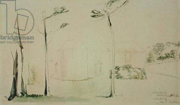 The Entrance Front of Hayley's House at Eartham, 1801 (pen & ink and w/c over graphite on paper)