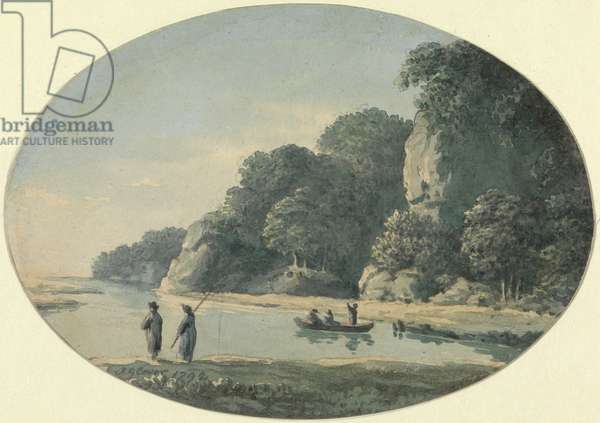 River with Fisherman, 1792 (w/c over graphite on paper)