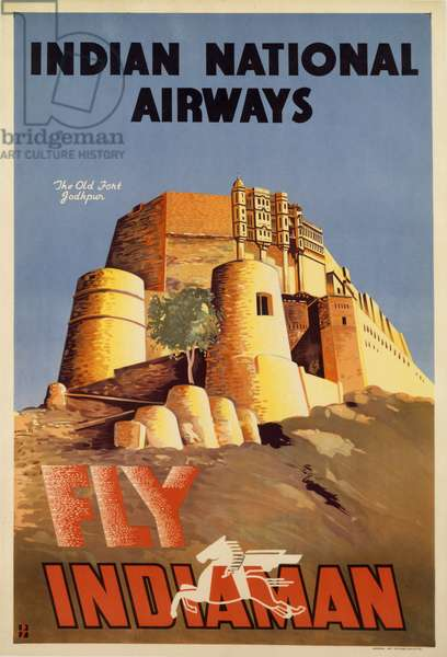 The Old Fort, Jodhpur, poster advertising Indian National Airways, c.1938 (colour litho)