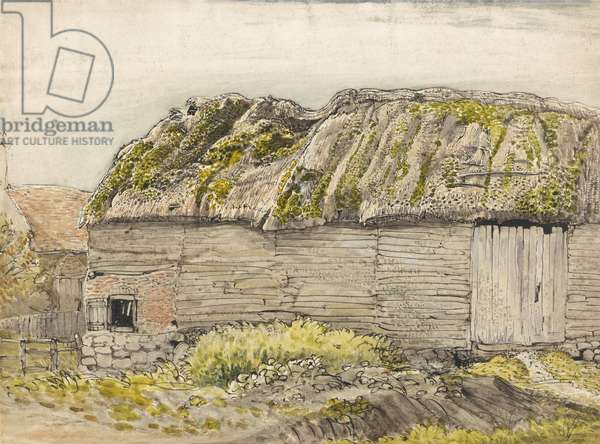 A Barn with a Mossy Roof, Shoreham (w/c with brown wash, ink, gouache & pencil on paper)