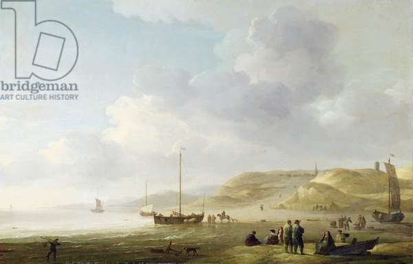 The Coast Near Scheveningen with Fishing Pinks on the Shore (oil on canvas)