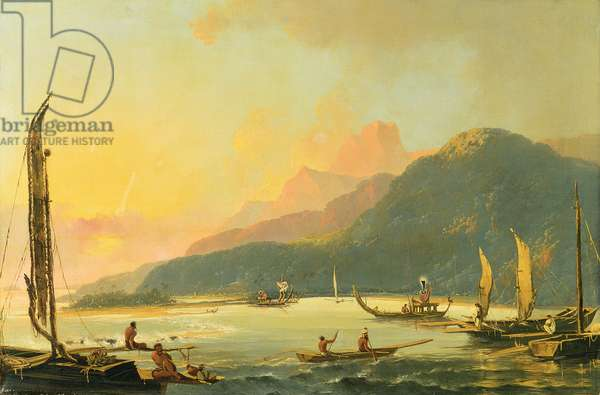 Tahitian War Galleys in Matavai Bay, Tahiti, 1766 (oil on canvas)