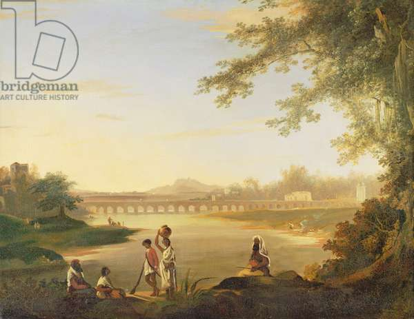 The Marmalong Bridge, with a Sepoy and Natives in the Foreground, c.1783 (oil on canvas)