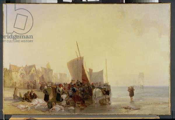 A Fishmarket Near Boulogne, c.1824 (oil on canvas)