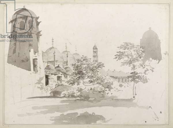 A View of the Cuttera Built by Jaffier Cawn at Murishidbad, c.1781 (grey wash and pencil on paper)