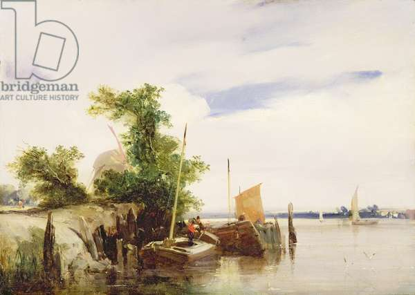 Barges on a River, c.1825-26 (oil on millboard) (signed)