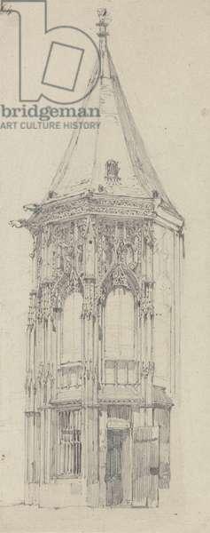 Palais de Justice, Rouen (graphite on laid paper)