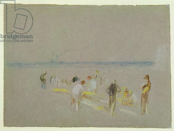 Cricket on the Goodwin Sands (chalk, w/c & bodycolour on paper)