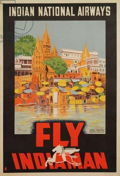 'Fly Indiaman', poster advertising Indian National Airways, c.1938 (litho)