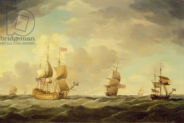 An English Flagship Under Easy Sail in a Moderate Breeze, c.1750 (oil on canvas)