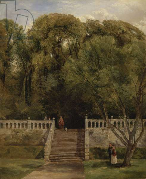 On the Terrace at Haddon Hall, Derbyshire, 1840 (oil on panel)