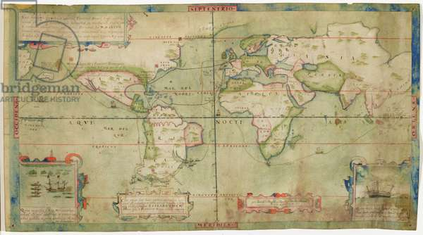 A True Description of the Naval Expedition of Francis Drake, who with Five Ships Departed from the Western Part of England on 13th December 1577, Circumnavigated the Globe and Returned on 26th September 1580 with One Ship Remaining, the Others Having been Destroyed by Waves of Fire, c.1587 (pen, ink and wash on vellum)