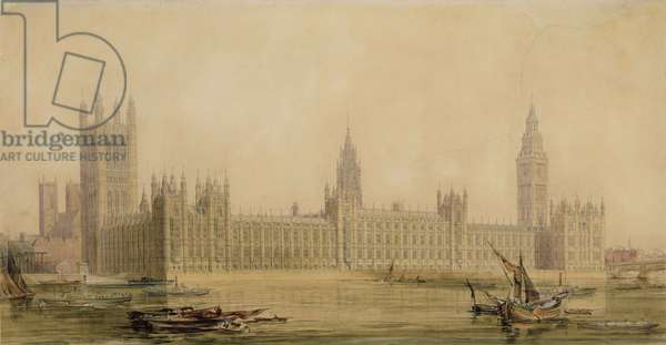 Perspective View of the new Houses of Parliament, c.1840s (w/c over graphite, gouache, pen and ink on paper)