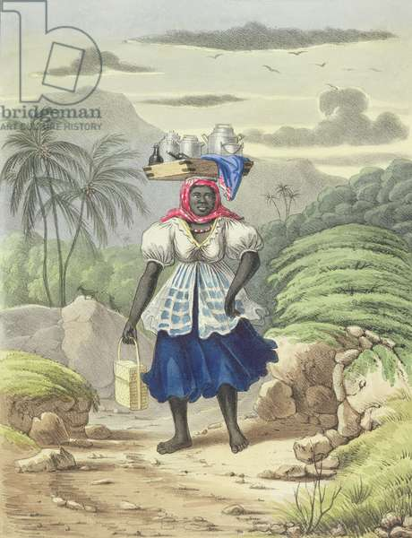 Milkwoman, plate 10 from 'Sketches of Character...', 1838 (colour litho)