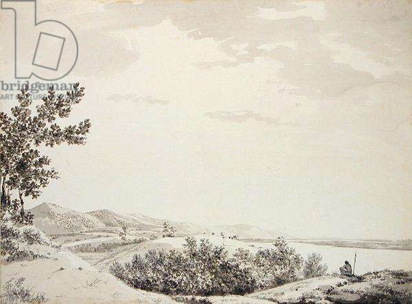 View of the Rajmahal Hills with a Sentenial in the Foreground, c.1781 (grey wash, pen and black ink and graphite on paper)