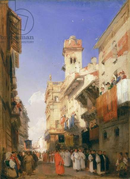 Corso Sant'Anastasia, Verona (oil on panel)
