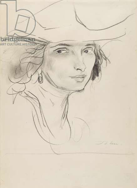 Head of a Woman (The Artist's First Wife?) (graphite on paper)