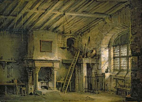 The Tolbooth, stage design for 'The Heart of Midlothian', c.1819 (oil on canvas)