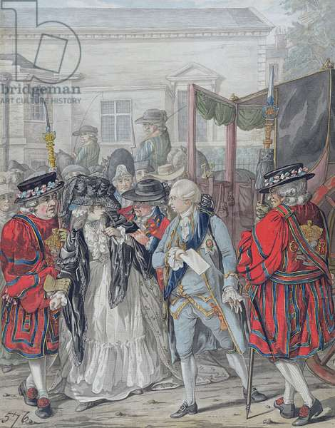 Margaret Nicholson Attempting to Assassinate His Majesty, George III (1738-1820), at the Garden Entrance of St. James's Palace, 2nd August 1786 (pencil, pen and black ink, w/c and bodycolour on paper)