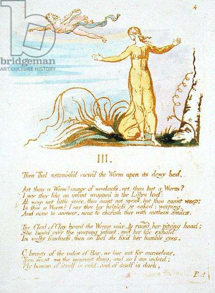 'Then Thel Astonish'd...', plate 6 from 'The Book of Thel', 1789 (hand-coloured relief etching with pen and w/c on paper)