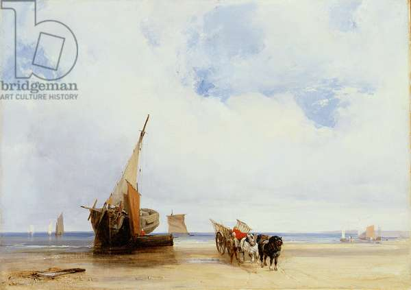 Beached Vessels and a Wagon near Trouville, c.1825 (oil on canvas)