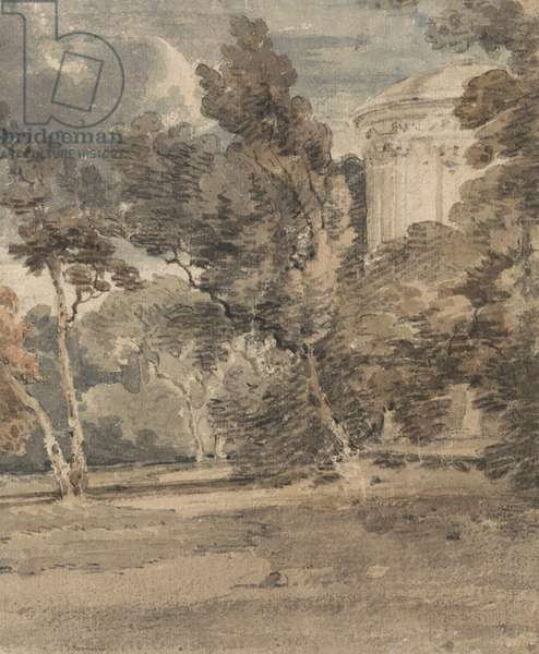 A Temple in Harewood Park, c.1798 (w/c over graphite on textured paper)