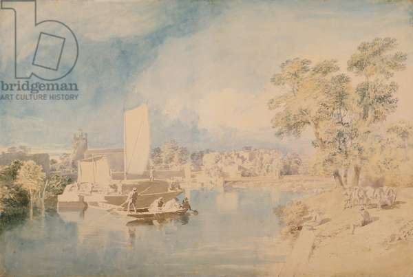 The Thames at Isleworth, c.1805-10 (graphite and w/c on laid paper)