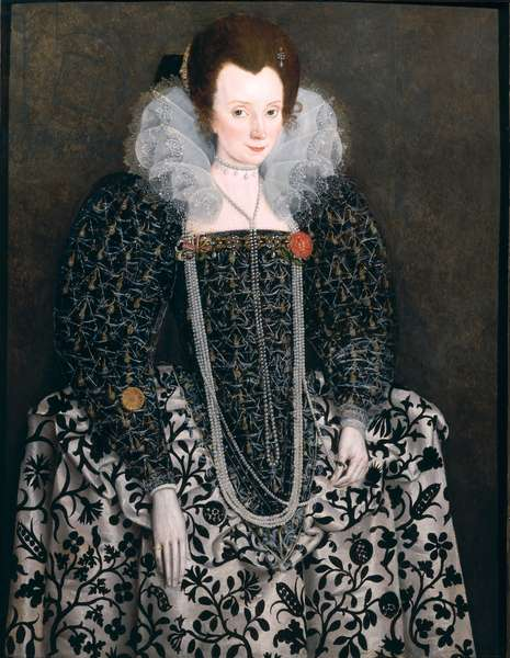 Portrait of a Woman, traditionally identified as Mary Clopton (born Waldegrave) of Kentwell Hall, Suffolk, c.1600 (oil on panel)