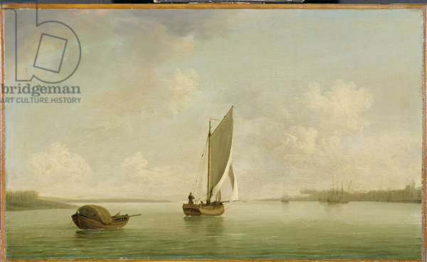 A Smack Under Sail in a Light Breeze in a River, c.1756-9 (oil on canvas)