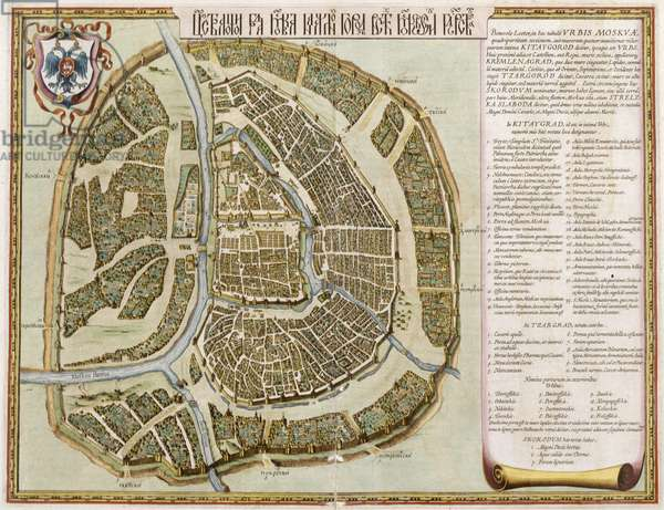 Moscow, from 'Geographie Blaviane', 1662 (hand coloured etching)