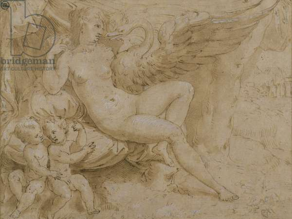 Leda and the Swan (pen & ink, wash and white bodycolour on paper)