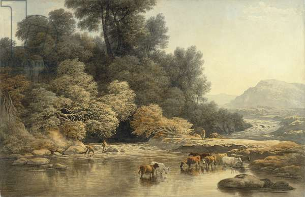 Hilly landscape with River and Cattle, c.1810 (w/c over graphite on wove paper)