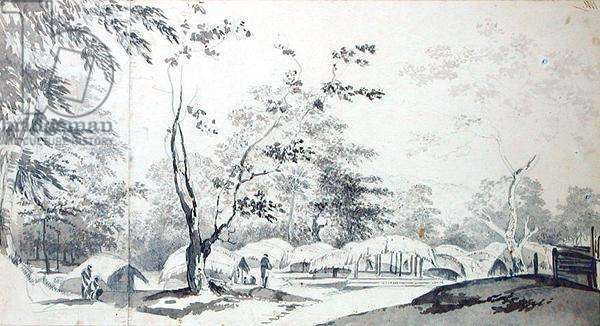 A View of a Hill Village in the District of Baugelepoor (Bhagalpur) 1783 (grey wash and graphite on two joined pieces of paper)