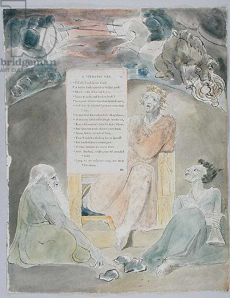 The Bard, design 61 from 'The Poems of Thomas Gray', 1797-98 (w/c with pen & ink on paper)