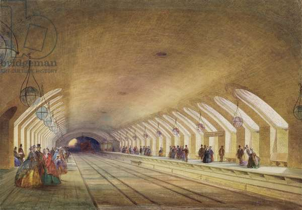 Baker Street Station, 1863 (w/c & bodycolour with pen & ink on paper)