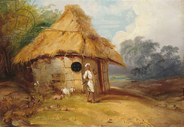View in Southern India, with a Warrior Outside his Hut, c.1815 (oil on canvas)