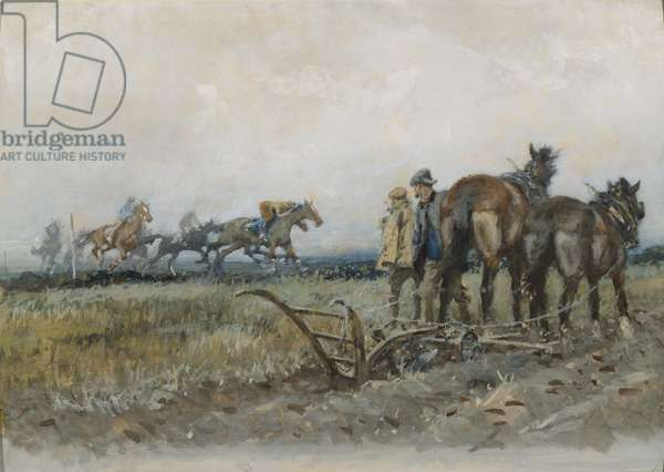 Racehorses at Exercise Watched by Ploughmen (w/c and gouache on board)