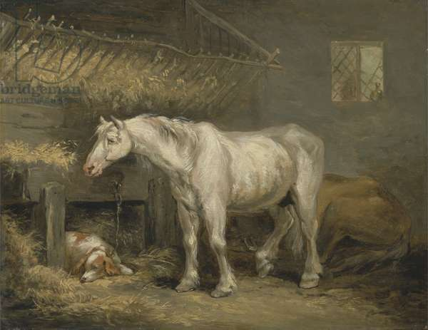 Old horses with a dog in a stable, c.1791 (oil on panel)