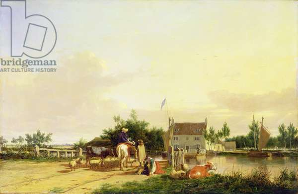 Buckenham Ferry on the River Yare, Norfolk, 1826 (oil on panel)