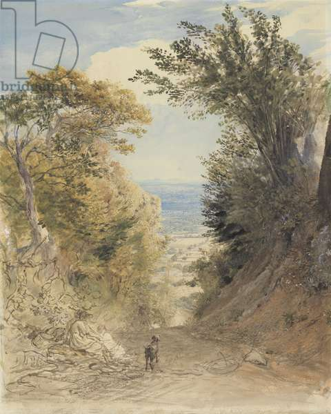 View from Rook's Hill, Kent, 1843 (w/c with bodycolour, pen & ink over pencil on paper)