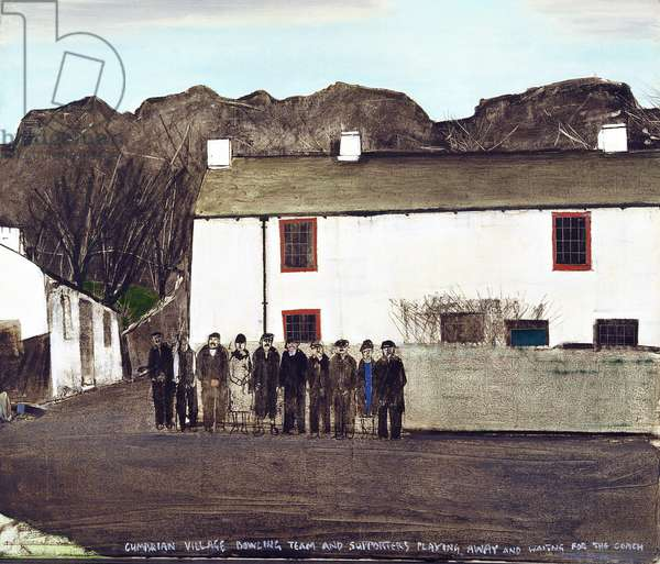 Cumbrian village bowling team and supporters playing away and waiting for the coach, late 1960s (oil on canvas)