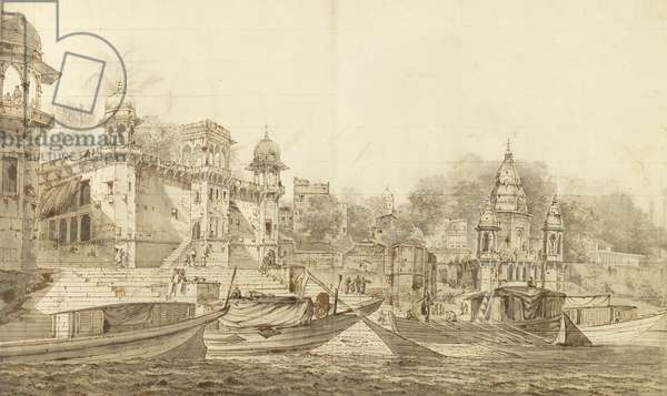 View of Part of the City of Benares, c.1781 (grey wash with brush & ink over pencil on paper laid on wash mount)