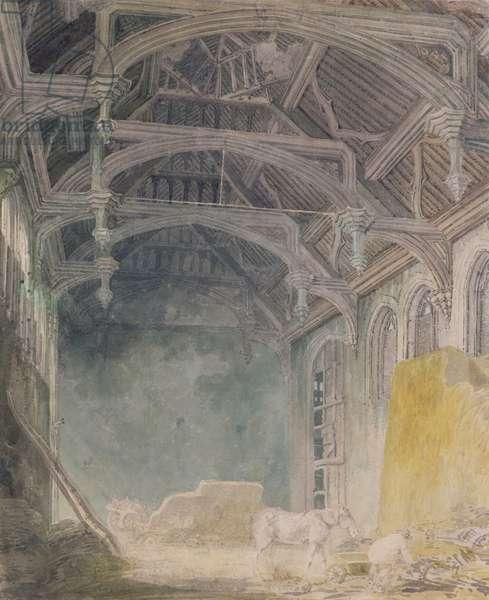 Interior of St. John's Palace, Eltham, c.1793 (w/c over graphite on paper)