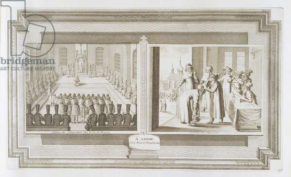 Scenes depicting an ambassadorial audience with the Czar of Russia and Muscovites declaring an oath, from 'La Galerie Agreable du Monde', 1729 (etching)