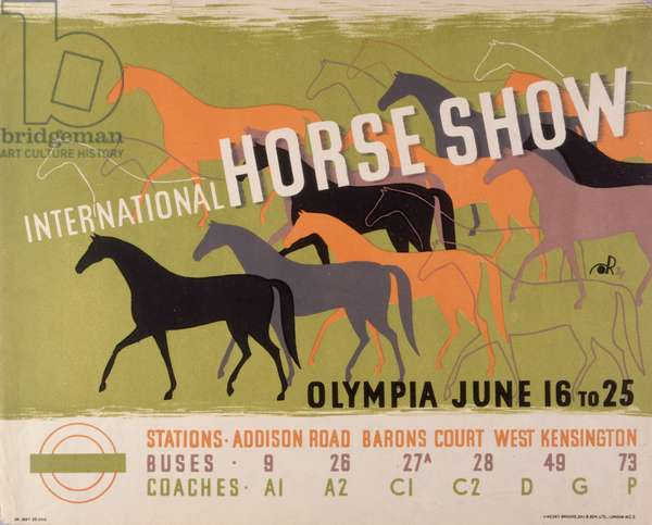 Poster advertising the International Horse Show, Olympia, 16th-25th June 1938 (colour litho)