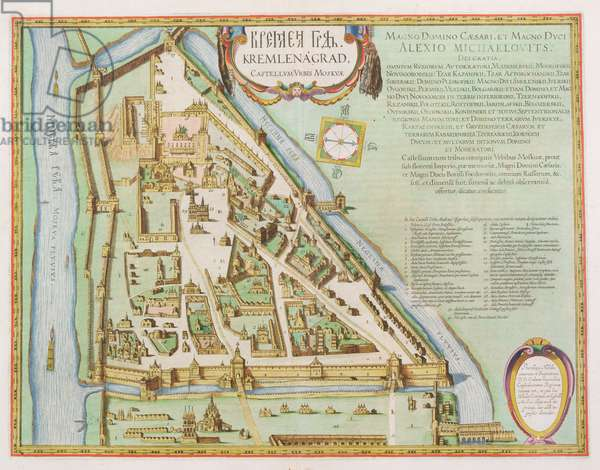 Map showing the Kremlin, Moscow, 1662 (hand coloured etching)