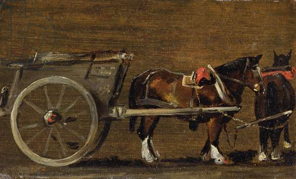 A Farm Cart with two Horses in Harness: A Study for the Cart in 'Stour Valley and Dedham Village, 1814' (oil on canvas on board)