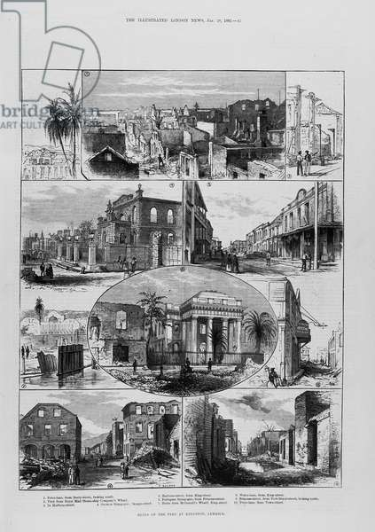Ruins of the Fire at Kingston, Jamaica, from 'The Illustrated London News', 20th January 1883, 1842 (engraving)