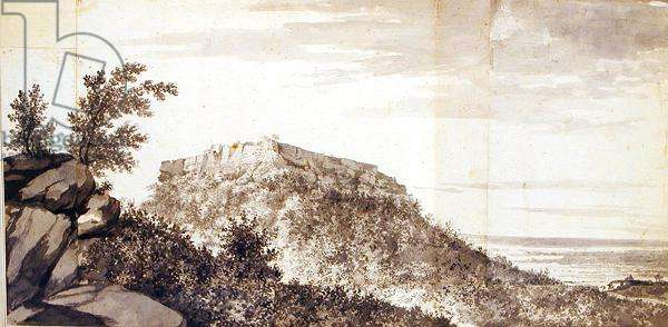 View of the Fort of Bidjegur (Bijagarh) c.1781 (grey wash and graphite on joined pieces of mounted paper) (see also 174459)