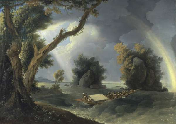 Storm on the Ganges, with Mrs Hastings near the Colgon Rocks, c.1790 (oil on canvas)